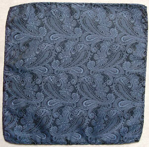 Hankie Pocket Square Handkerchief MENS Hanky NAVY BLUE PAISLEY