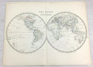 1861 Antique Map of the World Hemisphere Hand Coloured Engraving Keith Johnston