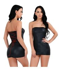 Sexy Women's Strapless Wet Look Tube Cocktail Party Evening Mini Dress Clubwear