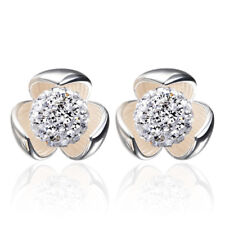 925 Sterling Silver Stud Earrings Crystal Ball Flower For Women Fashion Jewelry