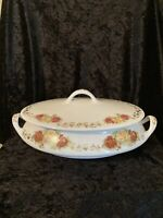 Vintage Homer Laughlin Covered Casserole Dish Serving Bowl Roses Gold Vine Trim