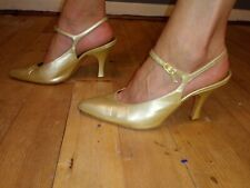 Bruno Magli 7.5B Pointed Toe T Strap Slingback Gold Leather Heels