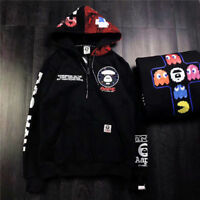 A Bathing Ape Pac-Man Mosaic BAPE Hoodie Black Pullover Drawstring Hooded Sweats