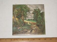 "Vintage 6"" VB France Art Pottery Tile w Sheep Donkey Dog & Boy Stream & Trees"