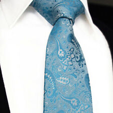 Mens Turquoise Wedding Tie SALE -Blue Matching Floral Paisley- Silk Necktie Gift