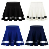 Women's Stretch High Waist A-line Flared Mini Skater Skirt Casual Pleated Skirts