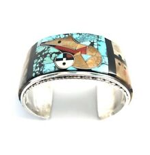 Native American Sterling Silver Zuni Handmade Multicolored Bear Cuff Bracelet