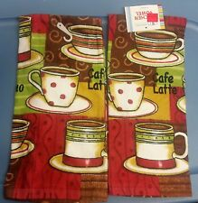 """2 SAME PRINTED KITCHEN TOWELS (15"""" x 25"""") COFFEE CUPS by AM, cotton"""