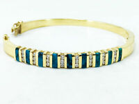Round Brill Cut Channel Set Diamonds w/ Turqoise Inlay 14K Yellow Gold Bracelet