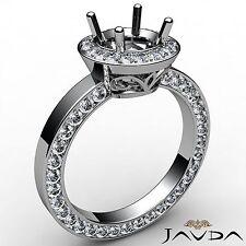 Round Cut Semi Mount Halo Pave Set Diamond Engagement 1.33Ct Ring 14k White Gold