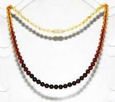 Baltic amber adult necklace, round beads rainbow color 45 cm /17.72 inch