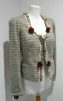 Maison Scotch cream black boucle tweed fitted blazer jacket Size 3 12 VGC