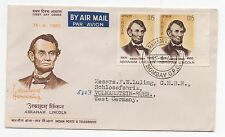 1965 INDIA First Day Cover LINCOLN SGMS499 Pair BOMBAY to VOLMARSTEIN Gutter