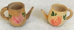 2 Pieces Wood Spice Pitchers Rose Pink for Dolls House Kitchen Made in Japan