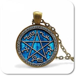 Pentagram Cabochon Necklace Wicca Witch Pendant Necklace Gothic Blue Copper