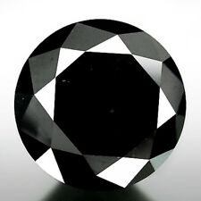 4.00 ct NATURAL LOOSE DIAMOND JET BLACK OPAQUE ROUND BRILLIANT CUT NR for ring