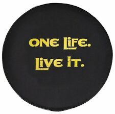 """SpareCover® Brawny Series - One Life. Live It. YELLOW on Black 32"""" Tire Cover"""