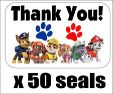 "50 Paw Patrol Thank You Envelope Seals / Labels / Stickers, 1"" x 1.5"""