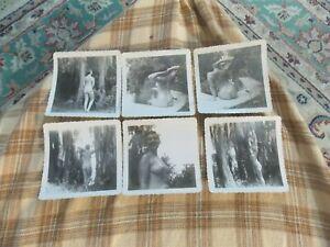 """Vintage 40's B&W Nude Lady Art Photograph Lot Of 6 Unique Art Deco Poses 3.5"""" VG"""