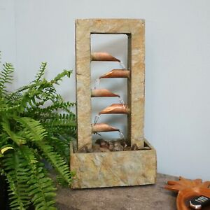 Sunnydaze 5-Tier Copper and Slate Indoor Tabletop Water Fountain Feature -