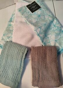 Laura Ashley Microfiber Kitchen Towels 3 Pack With Coordinating Bar Towels
