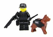 K9 with Police Officer Swat Tactical Minifigure (SKU34)made w/real LEGO® minifig