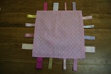 Handmade pink girls taggie comforter - spot, dogs, lilac, lamb, yellow