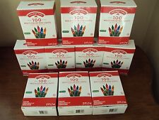 New Lot Of 10 Boxes 100 Count Multi-Color Mini Christmas Lights Green Wire Tree