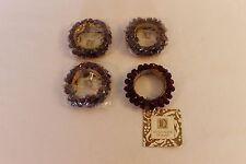 New Nutcracker Designs Red Bead Gold Napkin Rings Holders Set Of 4