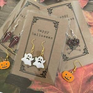 Halloween Fancy Dress Ghost Coffin Vampire Pumpkin Gold Enamel Earrings & Card