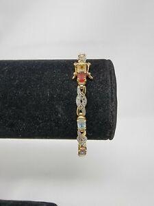"925 Sterling Silver Gold Plated Multi Gemstone Tennis Link Bracelet 7 1/2"""