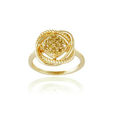 18K Gold over 925 Silver Yellow Diamond Love Knot Ring Size 7