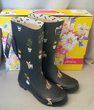 Joules 201037 Roll Up Welly Grey Dogs Mid Height Wellingtons Wellies Box Size 8