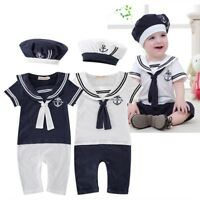 Baby Boys Girls Sailor Costume Suit Outfit Dress Romper Clothes + HAT Set 3-18M