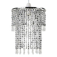 Modern Chrome Ceiling Pendant Light Shade Chandelier Acrylic Jewel Lampshade