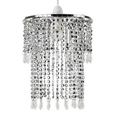 Chrome Ceiling Pendant Light Shade Chandelier Acrylic Jewel Lampshade Lighting