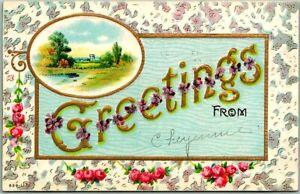 Greetings from Cheyenne, Wyoming Postcard Embossed / Rose Border 1913 Cancel
