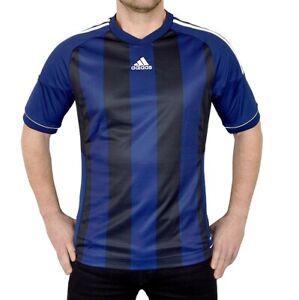 Adidas Men's Sports T-Shirt Jersey Running Shirt Jersey Striped Blue/Black/White