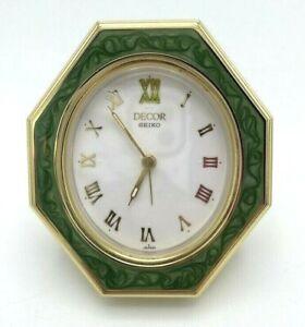 Vintage Seiko Folding Travel or Decorative Alarm Clock Gold Tone w/ Green Inlay