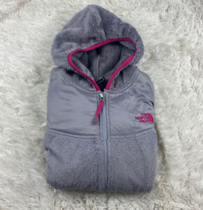 The North Face Gray and Pink Zip Up Fleece Jacket with Pink Lining Girl's XL 18