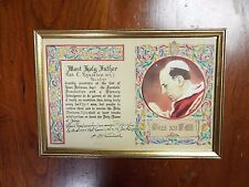 """1958 """"Plenary Indulgence"""" Pope Pius XII in 10"""" x 7"""" frame with Embossed Seal"""