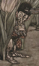 Male Fairy Hides in Tulips Goblin Peter Pan Arthur Rackham 1906 Tipped In Print
