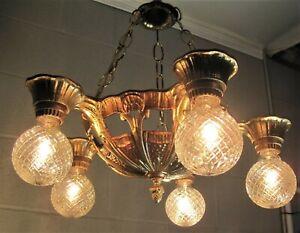Chandelier Lincoln 1930`s 5 Light Restored Metallic Finishes 5 Chain