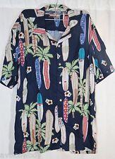 Box Office Hawaiian Aloha Surf Board Palm Tree Beach Camp Lounge Shirt Men's L