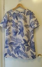 NEW Microfiber Leaves print shift dress with scalloped hem, size 12-14