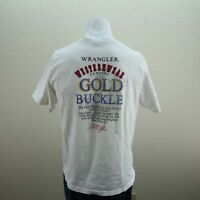 Vintage Wrangler White Short Sleeve Gold Buckle Graphic T Shirt Mens Large