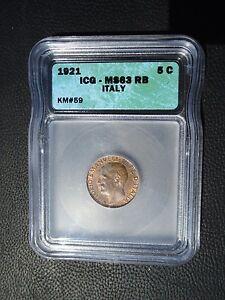 1921 Italy 5 Centesimi, ICG MS 63 RB