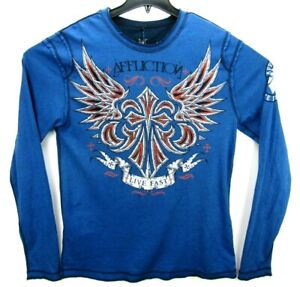 Affliction Size XL Reversible Long Sleeve T Shirt Distressed