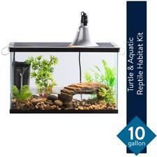 10 Gallon Reptile Tank Habitat Kit Turtle Aquatic Pet Aquarium Heated Lamp Bulb