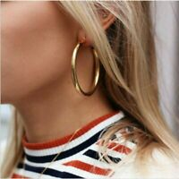 Chic Punk Minimalist Thick Tube Gold Big Circle Statement Hoop Earrings Jewelry